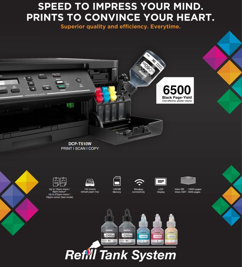 Continuous ink system printer bundle for the Brother DCP-T510W Refill Tank System - A4 printer #1