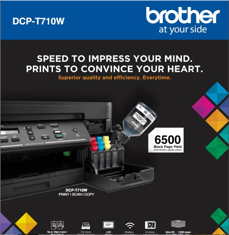 Continuous ink system printer bundle for the Brother DCP-T710W Refill Tank System - A4 printer #1