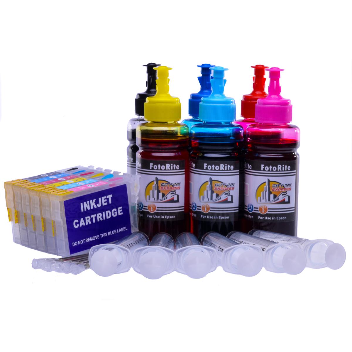 Refillable T0487 Multipack Cheap printer cartridges for Epson Stylus RX630 C13T04874010 dye ink