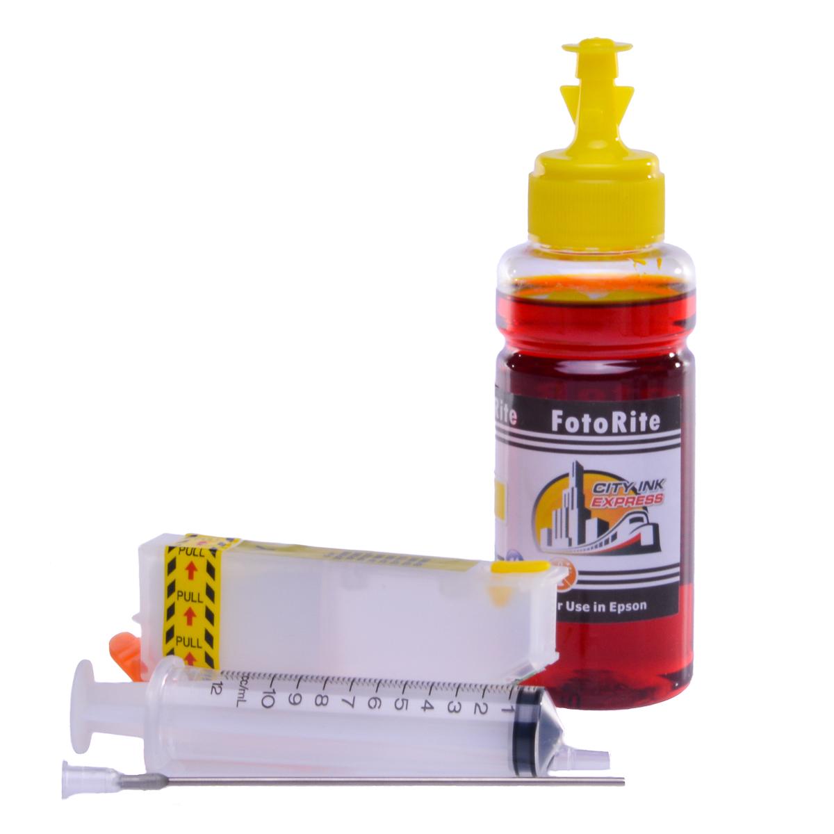 Refillable T2434,T2424 Yellow Cheap printer cartridges for Epson XP-750 C13T24344010 dye ink