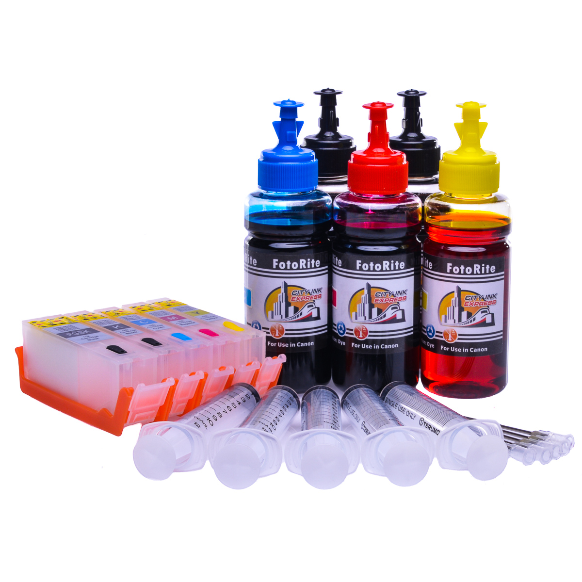 Multipack Cheap printer cartridges for Canon Pixma MG5650 | Refillable dye and pigment ink