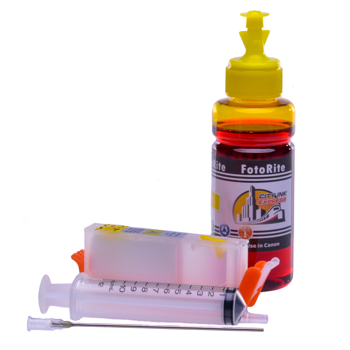 Refillable CLI-571Y Yellow Cheap printer cartridges for Canon Pixma MG7753 0388C001  dye ink