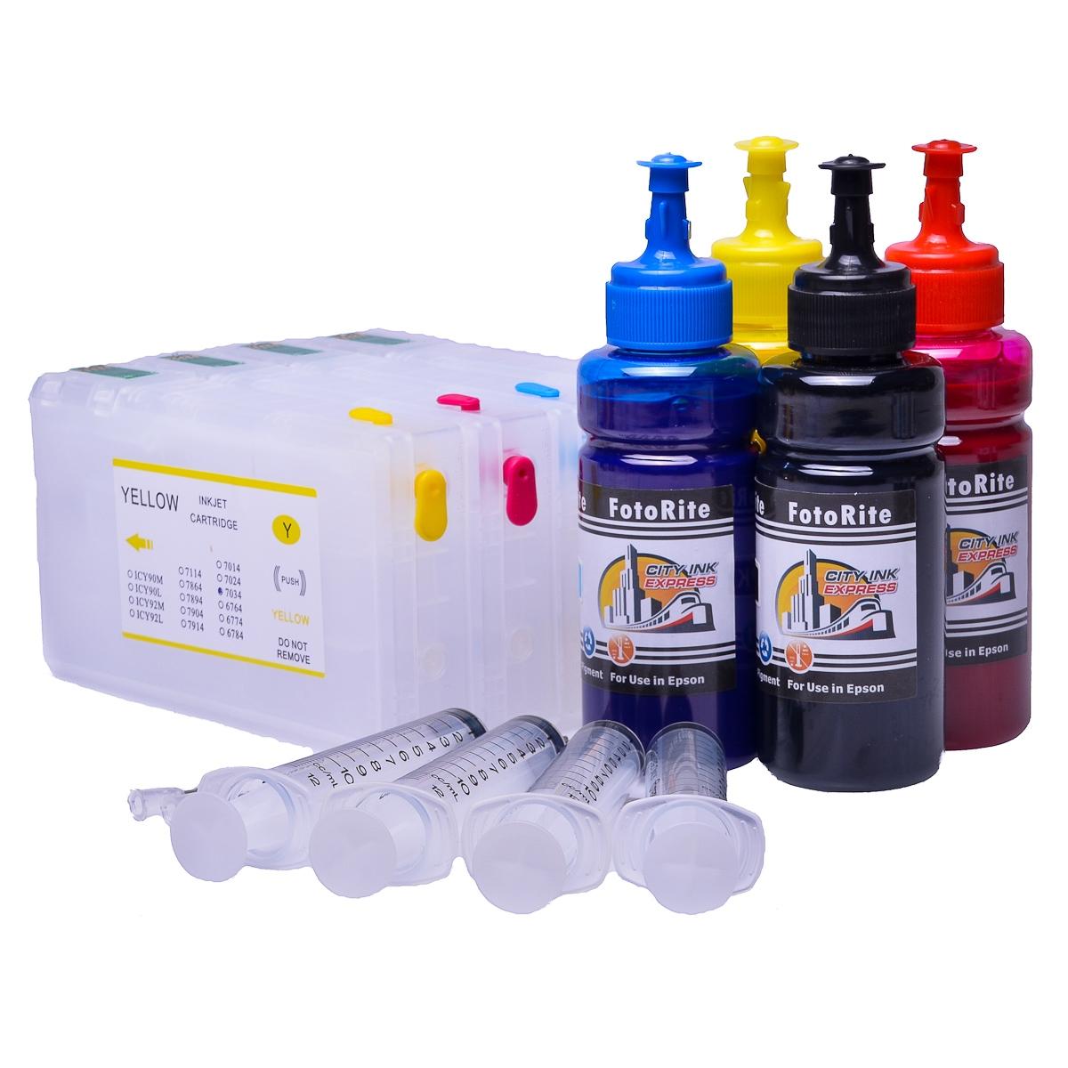 Refillable pigment Cheap printer cartridges for Epson WF-4640DTWF C13T79154014 T7911-4 Multipack
