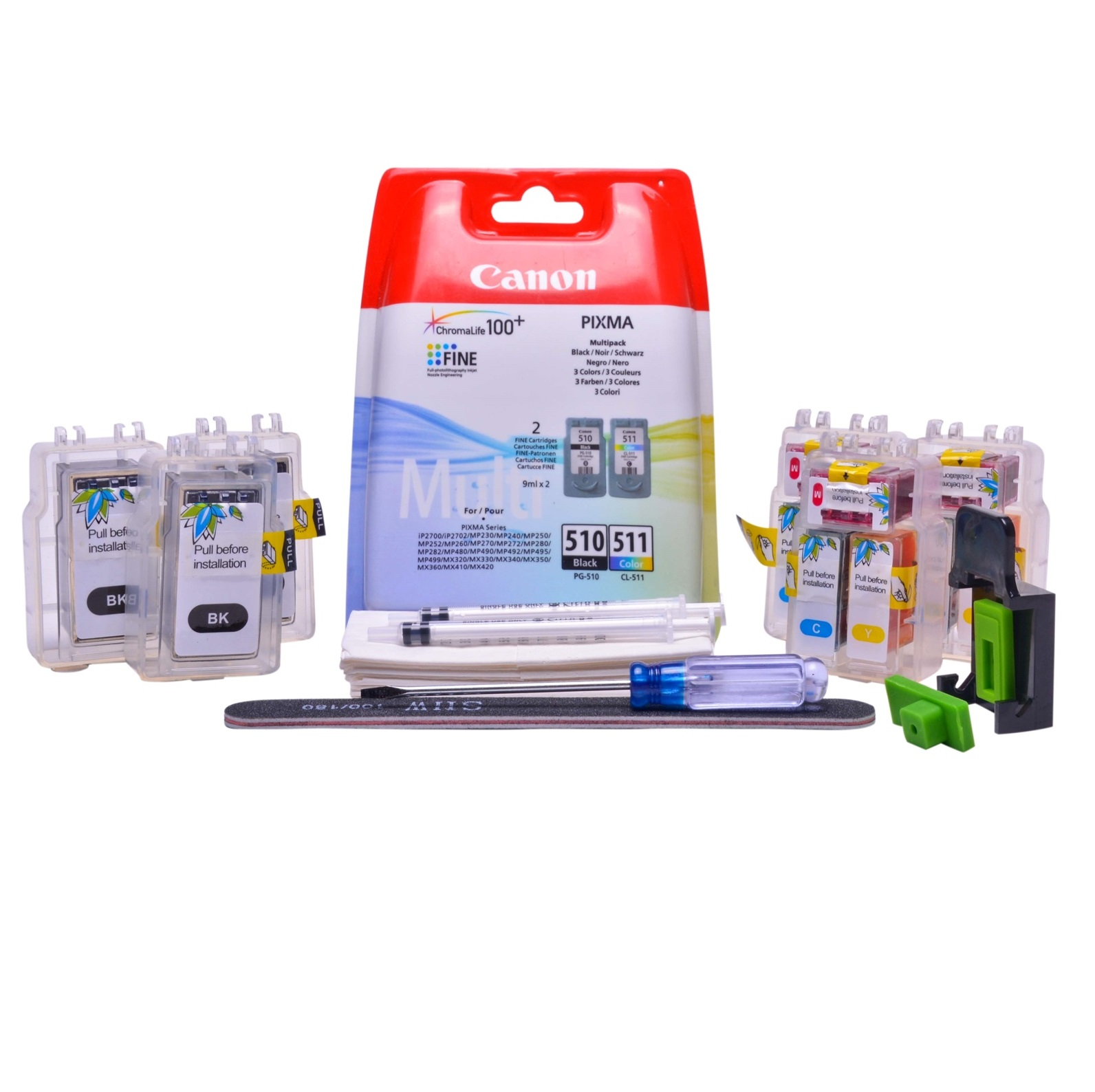 Multipack Cheap printer cartridges for Canon Pixma IP2700 | Refillable dye and pigment ink