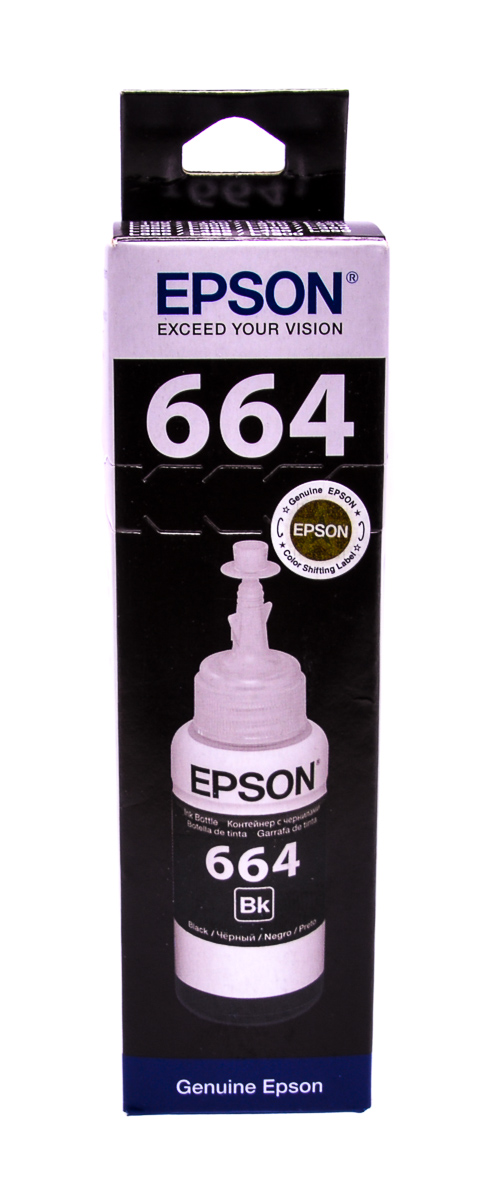 Epson T6641 Black original dye ink refill Replaces WF-7610DWF