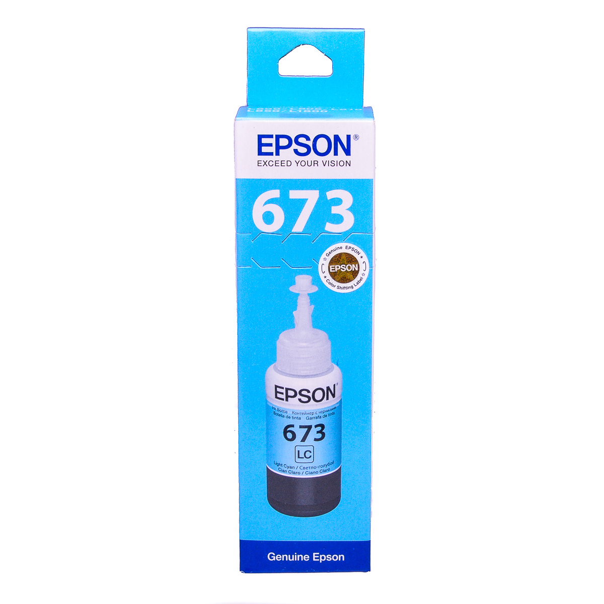 Epson T6735 Light Cyan original dye ink refill Replaces L1800