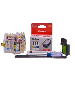 Refillable CL-546XL Colour Pod Cheap printer cartridges for Canon Pixma MX495 CL-546 dye ink